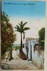 BERMUDA 1936 OLD MAIDS LANE PICTURE POST CARD TO UNITED STATES