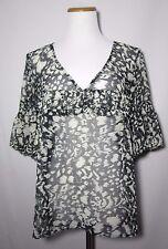 Ann Taylor Loft Size L Black Ivory Sheer Print Peasant Blouse Tunic Top Shirt