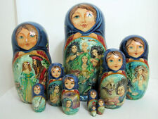 "One of a kind 10pcs Russian Nesting Doll ""Little Mermaid"" by Frolova 10.5 inches"