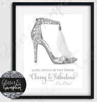 Silver Feather Designer Shoes Coco Chanel Quote Fashion Art print