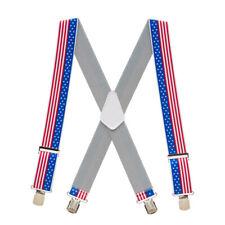 STARS & STRIPES 2-Inch Wide Pin Clip Suspenders