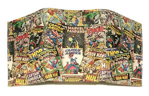 MARVEL Multi Classic Comic Book Covers all over Geniune LEATHER TRIFOLD Wallet