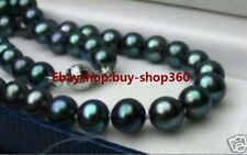 CHARMING GENUINE 8-9MM BLACK NATURAL TAHITIAN PEARL NECKLACE 18''