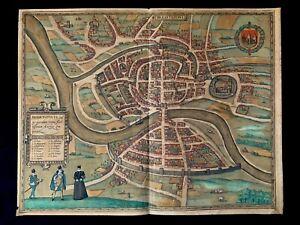 1588 HAND COLORED MAP OF BRISTOL, ENGLAND - Civitates Orbis Terrarum Atlas