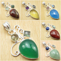 GREEN ONYX & Other Variation To Choose ! 925 Silver Plated Multistone Pendant