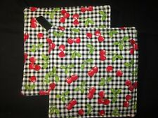 RED CHERRY CHERRIES BLACK WHITE CHECK HANDMADE FABRIC POTHOLDER HOT PAD SET OF 2