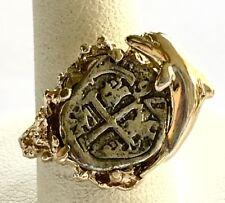 ATOCHA Coin Ring 14k Gold Coral Dolphin Sunken Treasure Shipwreck Coin Jewelry