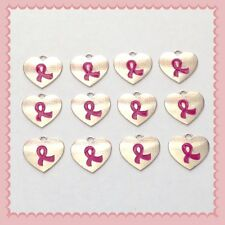 12 Pink Ribbon Heart Shaped Charms Jewelry Making Earrings Bracelet B5