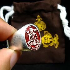 Rare Old Ring Lp Jong Wat Natangnok Thai Buddha Amulet Luck Rich Charm#3