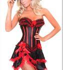 Womens Burlesque Moulin Rouge Bustier Tutu Fancy Dress Corset Costume Skirt S-2X