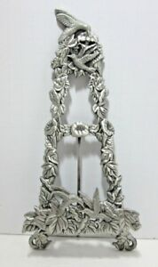 """Beautiful Hummingbird Floral Design Pewter Style Easel Display Stand 9.5"""""""