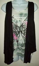 cocomo womens two piece tank top vest set small butterfly black open drape vest