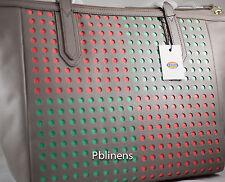 FOSSILSYDNEY SHOPPER BAG PERFORATED LEATHER SHOULDER BAG NEW