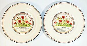 2 Gien France Jardin Enchante le Coquelicot Salad Plates