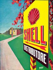 R. Bassi -SHELL-pompa-distributore-impianto-casa benzina pubblicità Vintage 1930