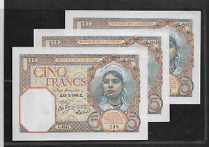 ALGERIE CINQ Francs 13/2/1941C. UNC/NEUF/WWF 3 NUMEROS CONSECUTIFS RARE