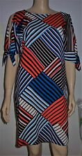 DOROTHY PERKINS Multi Colour Cut Out Tie Sleeve Stripe Dip Hem Dress Size10 BNWT