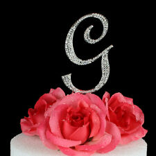 "Crystal Rhinestone Silver Letter ""G"" Monogram Wedding Cake Topper"