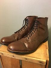 Vtg Antique Style Stacy Adams Brown Leather Ankle Boots Shoes Mens 14 D Cap-toe