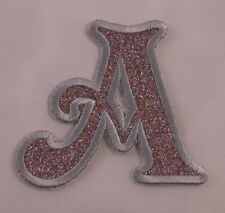Embroidered Glitter Rainbow Retro Mod Monogram Letter A Applique Patch Iron On