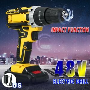 48V 1500RPM 28Nm Cordless Electric Hammer Drill Screwdriver with LED Light Tools