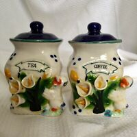 """Vintage Duck Coffee And Tea Canisters 6"""" High"""