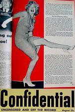 1953 Fine MARILYN MONROE Front MAGAZINE COVER & PHOTO ARTICLE & Joe DI MAGGIO