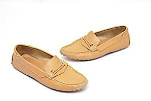 TOD's Tan 100% Leather Driving Flat Loafers with Rubber Pebble Soles  Sz 35
