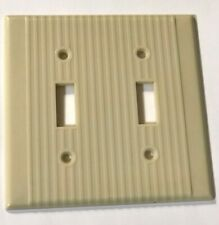 Vintage Ivory Art Deco Ribbed Bakelite Double Toggle Switch Cover Plate