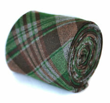Frederick Thomas vert et marron laine carreaux Cravate ft2081 100% laine