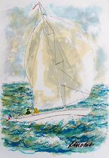 Urbain Huchet RACING YACHT IN ST. TROPEZ Hand Signed Limited Edition Lithograph