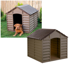 Starplast Large Outdoor Plastic Dog Kennel Shelter Winter House Durable Mocha