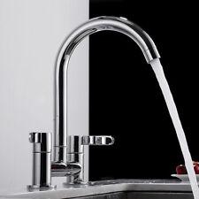 Chrome Kitchen Sink Mixer Tap Twin Lever Modern Deck Mounted Basin Brass Taps