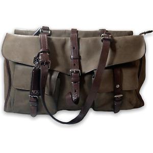 Tumi Full Leather Handbag Satchel Messenger Bag with Adjustable Straps Brown