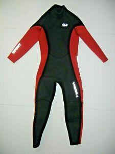 HEVTO Black/Red Neoprene VIGOR-I WETSUIT Full Body Surf Beach Kids Sz YOUTH 10
