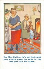 POSTCARD  COMIC  FATHER SON WAYS SPITS IN THE FIRE