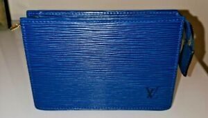 Authentic VINT Louis Vuitton Toiletry Pouch Epi Leather Accessory Cyan Blue