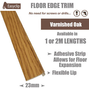 Varnished Oak 100cm Long Room Edge Trim Profile Adhesive Allows Floor Expansion