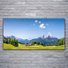 Glasbilder Wandbild Druck auf Glas 120x60 Felder Bäume Gebirge Landschaft