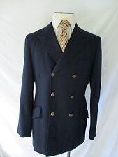 WOOL FLANNEL navy blue three button DB blazer sport coat jacket 40R