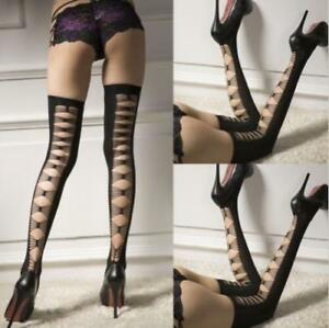 BLACK OPAQUE Thigh High Over The Knee Stockings LADDER SLASH QUALITY AUS SELLER