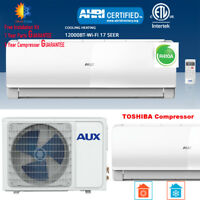 AUX 12000 BTU Ductless Air Conditioner Heat Pump MINI Split 115V 17SEE WiFi
