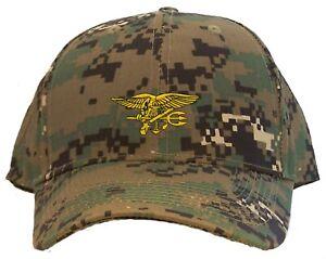 U.S. Navy Seal Team Logo Embroidered Baseball Cap - American Flag Back