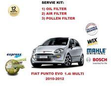 PER FIAT PUNTO EVO 1.4 MULTIAIR 2010-2012 FILTRO OLIO ARIA POLLINE Kit revisione
