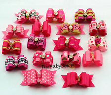 20 Dif Pink & Hot Pink Girl Yorkie Dog Grooming Pet Puppy bow ShihTzu Biewer