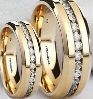 HIS And HERS SIMULATED DIAMONDS TITANIUM WEDDING ENGAGEMENT RING BAND SET