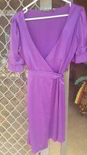 Purple violet wrap around dress sz8 new