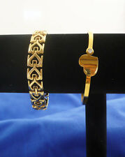 Lot 2 heart themed gold tone bracelet 1 hinged bangle  & 1 chain link 7 1/4""