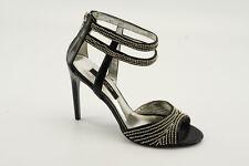 NEW Nina Cannes Black Leather Dress Sandals sz 8 Evening High-Heels Shoes NIB