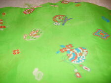 Bright green silky asian floral print fabric material sewing chic flowers
